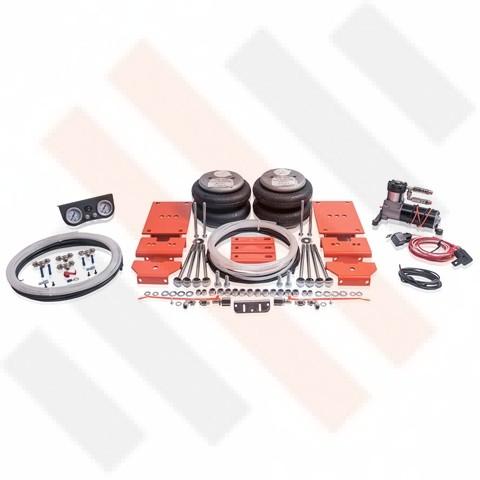 Fiat Ducato X250 Hulpluchtveringset 8-inch balgen 2-weg met Compressorset Thomas 215 met onderbouw manometerpaneel