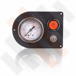 Manometer set Ø 40 mm enkel | Hulpluchtvering Universeel Mat Zwart met oranje knop