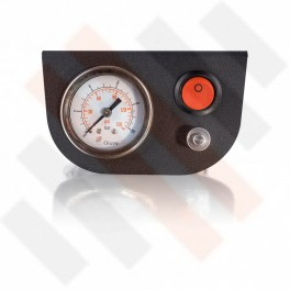 Manometer set Ø 40 mm enkel met mat zwart paneel en oranje knop