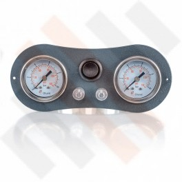 Universeel Inbouw Manometerpaneel 2-weg systeem Ø 40 mm mat grijs paneel en zwarte knop