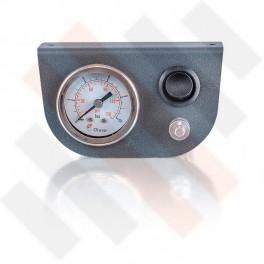 Manometer set Ø 40 mm enkel | Hulpluchtvering Universeel Mat Grijs met zwarte knop