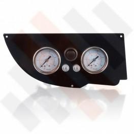 Universeel Manometer paneel Ø 40 mm 2-weg Systeem Zwart Hoogglans met zwarte knop