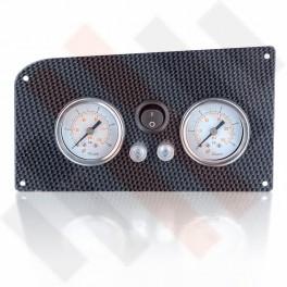 Fiat Ducato X244 Dubbele Manometerpaneel 2-weg Systeem Ø 40 mm Carbon-Look met zwarte knop