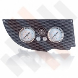Universeel Manometer paneel Ø 40 mm 2-weg Systeem Carbon-Look met zwarte knop