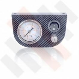 Manometer Paneel Ø 40 mm 1-weg systeem Carbon-Look met zwarte knop