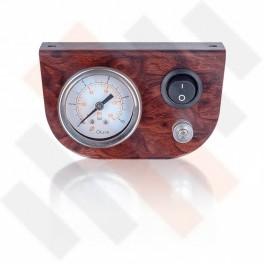 Manometer Paneel Ø 40 mm 1-weg systeem Wortelnoten Mat met zwarte knop