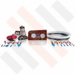 Compressorset Thomas 215 | wortelnoten mat manometerpaneel met dubbele manometers