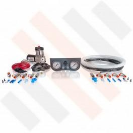 Compressorset Thomas 215 | mat grijs manometerpaneel met dubbele manometers