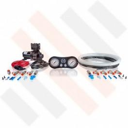 Compressorset Thomas 319 | carbon-look standaard manometerpaneel met dubbele manometers