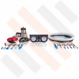 Compressorset Thomas 215 | mat zwart manometerpaneel met dubbele manometers