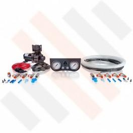 Compressorset Thomas 319 | mat zwart standaard manometerpaneel met dubbele manometers