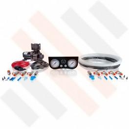Compressorset Thomas 319 | glanzend zwart standaard manometerpaneel met dubbele manometers